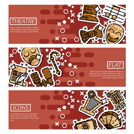 Set of Horizontal Banners about theater Illustration