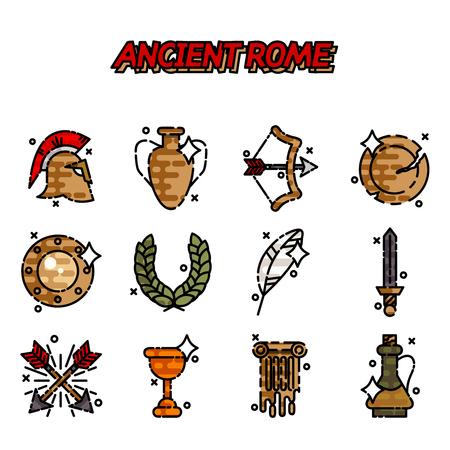 Ancient rome cartoon icons set
