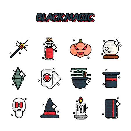 Black magic cartoon concept icons. Trendy Simple vector symbol. Vector illustration, EPS 10 Stock Photo