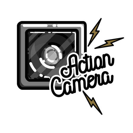plate camera: Color vintage electronic gadgets emblem Stock Photo