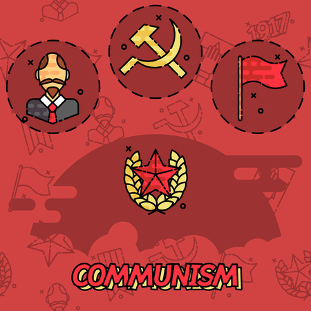 communism: Communism flat concept icons Illustration