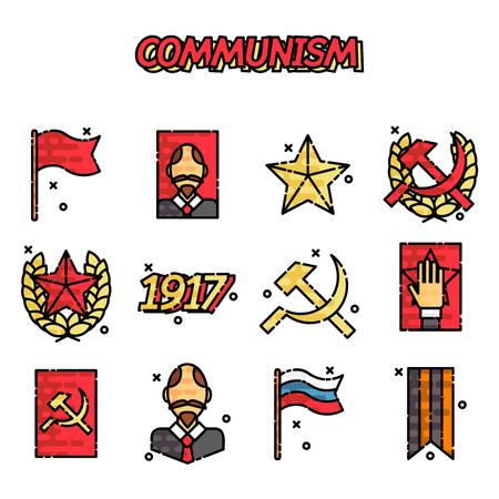communism: Communism cartoon concept icons