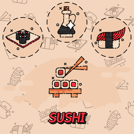 salmon dinner: Sushi flat concept icons. Seafood sign. Vector illustration, EPS 10