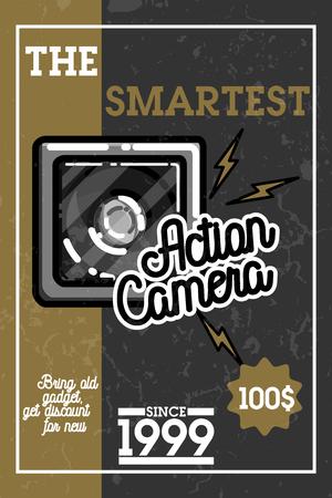 plate camera: Color vintage electronic gadgets banner