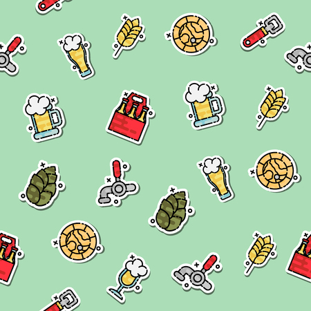 beers: Colored Brewing icons set pattern. Illustration