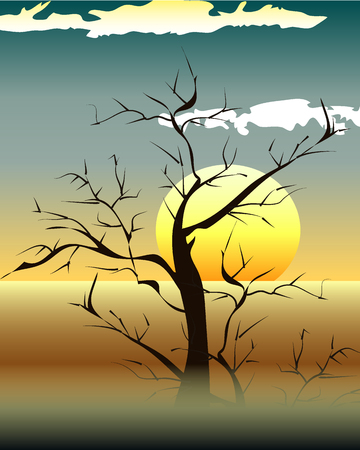 Bright yellow sunrise and sunset set Illustration