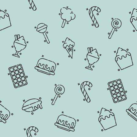 cupcakes isolated: Confectionary concept icons pattern Illustration