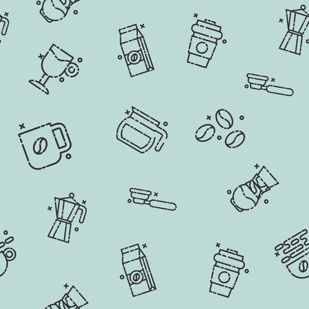 contemporary taste: Coffee concept icons pattern Illustration