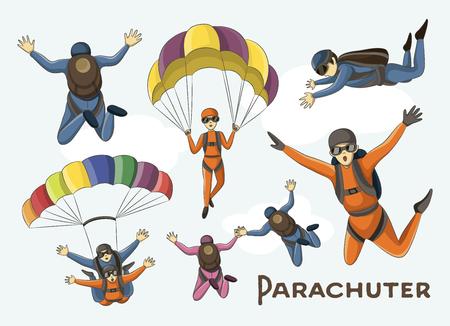 airplay: Vector set of parachuter