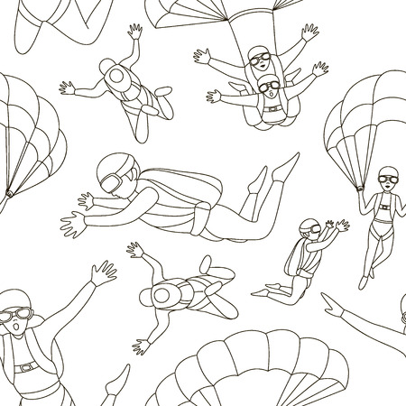 airplay: Vector set of parachuter pattern