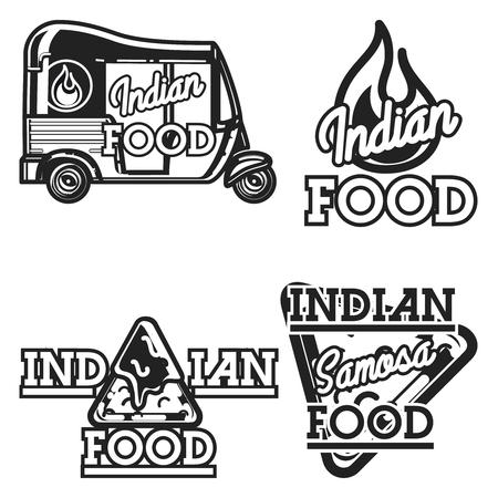 Color vintage indian food emblems