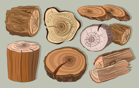 Wood stumps vector set Illustration