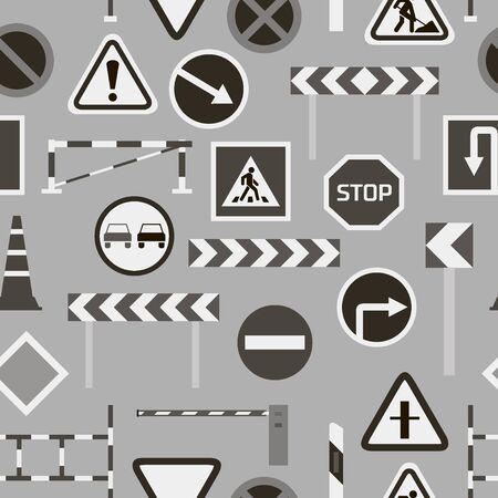 Road barriers and signs pattern Vektorové ilustrace