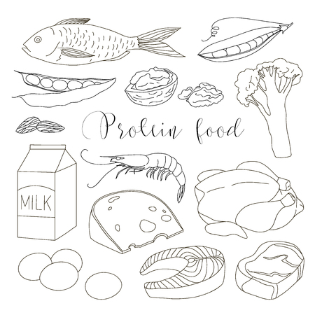 ration: Best protein food icons.