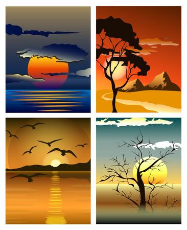 Heldere gele zonsopgang en zonsondergang set