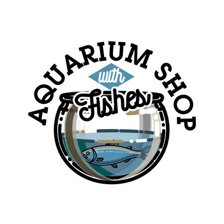 white salmon river: Color vintage aquarium shop emblem