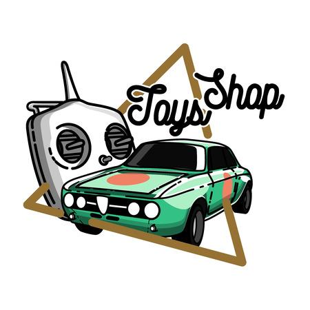 Color vintage toys shop emblem Illustration