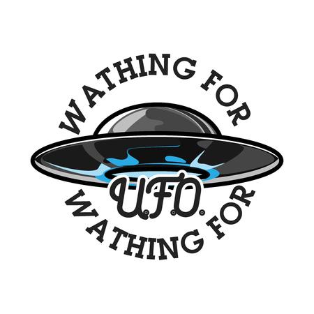 Color vintage UFO emblem Ilustração