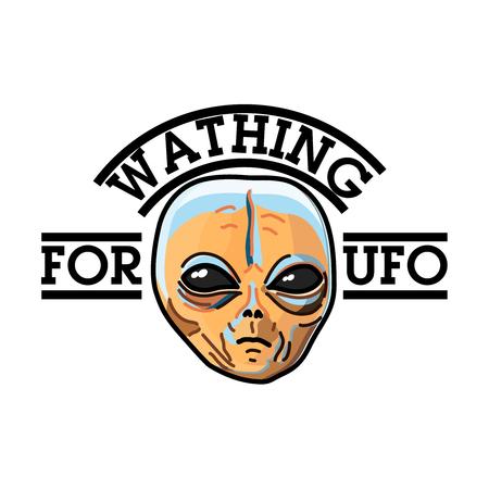 unidentified flying object: Color vintage UFO emblem Illustration