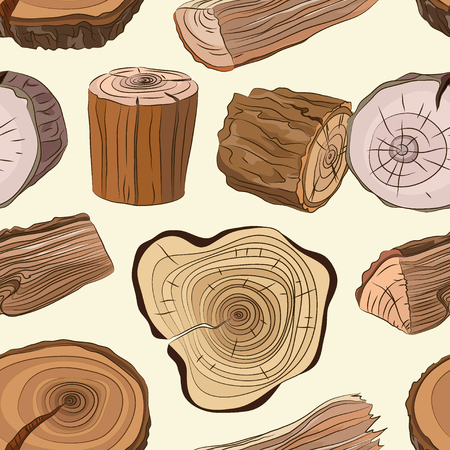 Wood stumps vector set pattern Illustration