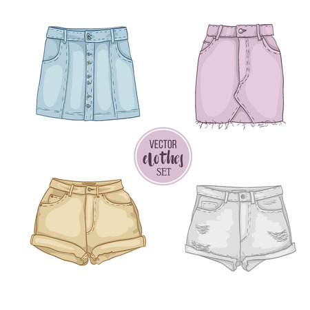 frill: Color set of woman casual clothes Illustration