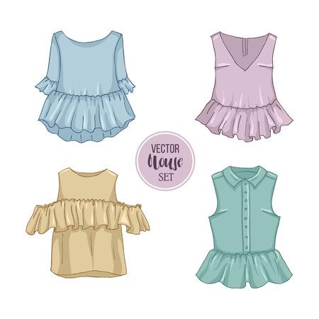 女性カジュアルな服のカラーセット  イラスト・ベクター素材