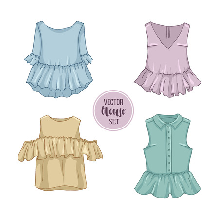 Color set of woman casual clothes