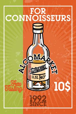 craft product: Color vintage alcomarket banner Illustration