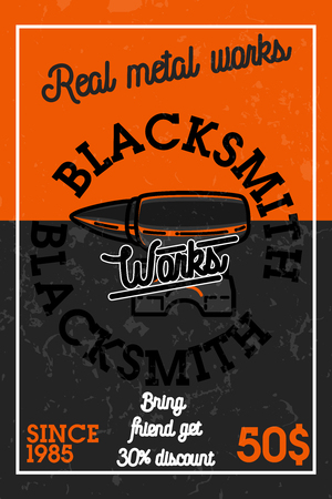 Color vintage blacksmith banner
