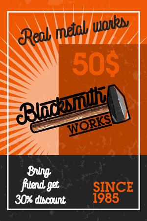 Color vintage blacksmith banner