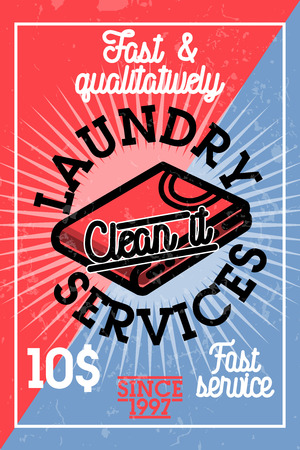 hangers: Color vintage laundry services banner