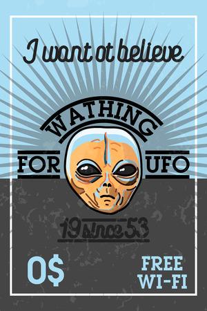 paranormal: Color vintage UFO banner