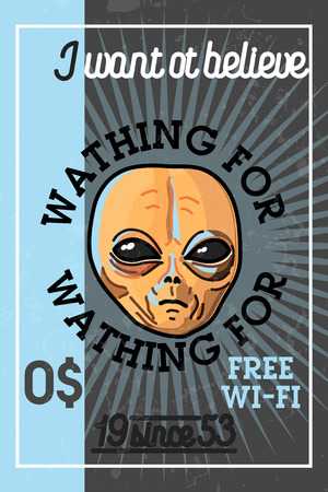 unidentified flying object: Color vintage UFO banner
