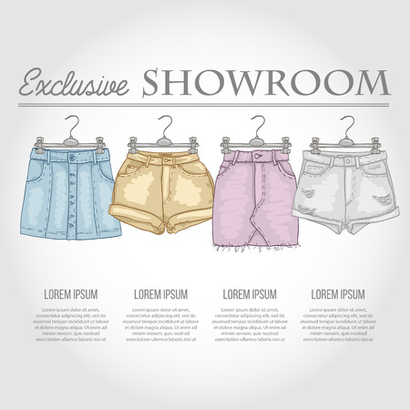 store shelf: Color showroom set of woman casual clothes Illustration