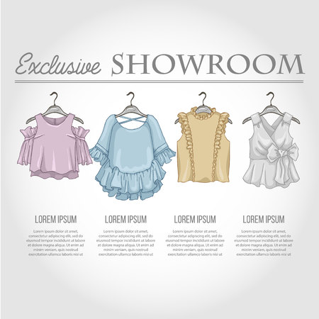 hangers: Color showroom set of woman casual clothes Illustration