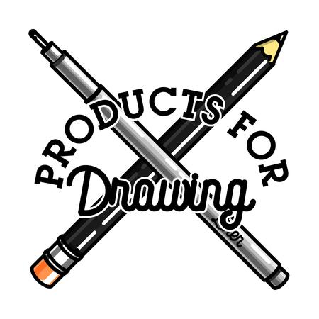Color vintage art products shop emblem Illustration