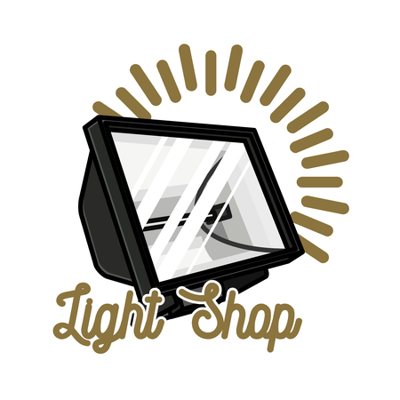 Color vintage light shop emblem
