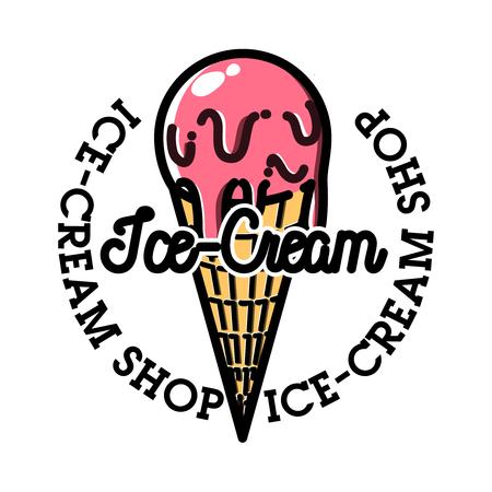 Color vintage ice-cream emblem Stock Photo