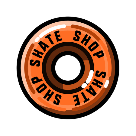 skateboard park: Color vintage skate shop emblem Illustration