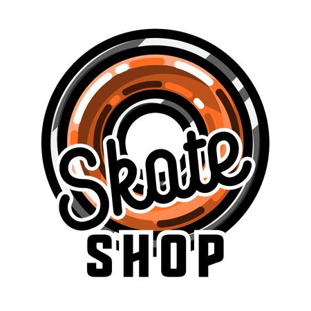 Color vintage skate shop emblem Illustration