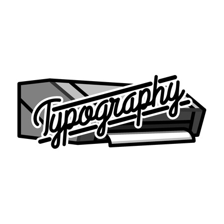 rolled newspaper: Color vintage typography emblem illustration. Illustration