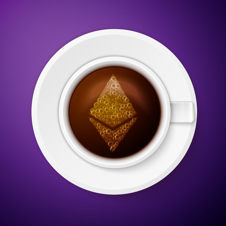 decentralized: Cup of coffee with ethereum symbol