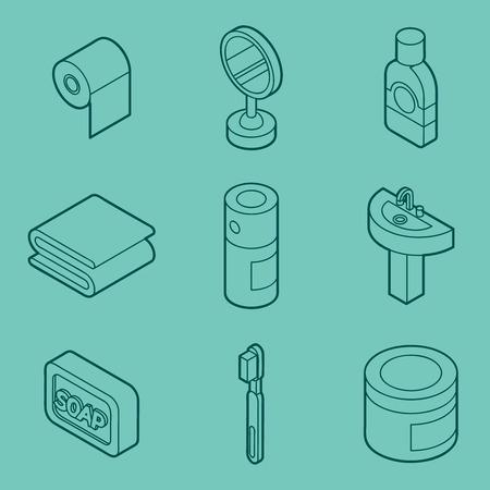 Personal hygiene flat outline isometric set illustration. Illustration