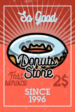 donut style: Color vintage donuts store banner Illustration