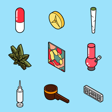 Drugs flat outline isometric icons such as pill, medicine. Vector illustration, EPS 10