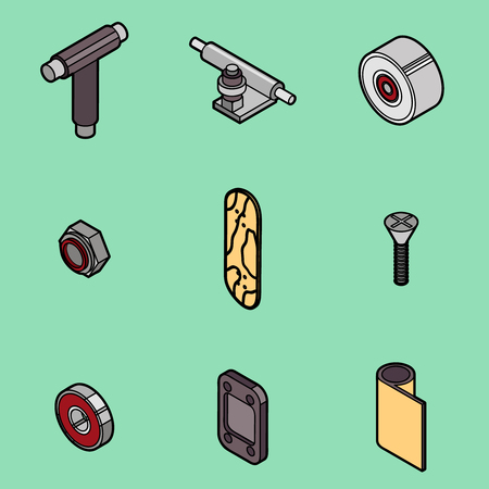 Skateboard spare parts icons Illustration