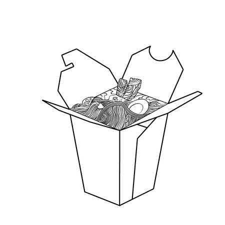 chinese food container: Sketch of Chinese food in a box