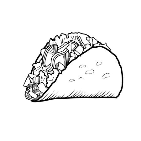 Schizzi l'illustrazione disegnata a mano del taco. Archivio Fotografico - 82945781
