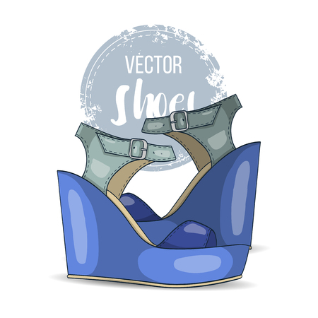 Fashion vector color womens shoes. Illustration