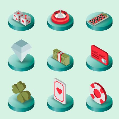 rich couple: Casino flat isometric set Illustration
